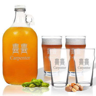 Growler with Pub Glass Set