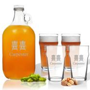Growler with Pub Glass Set