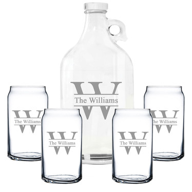 Glass Growler Beer Can Set