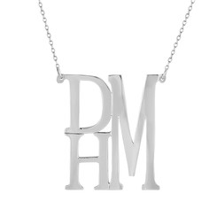 Stacked Mono Sterling Necklace
