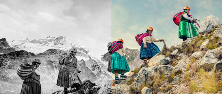 Foto Bolivianas subindo um monte representando as ODS