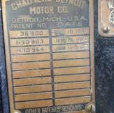 '09 Chalmers Detroit Patents Plate