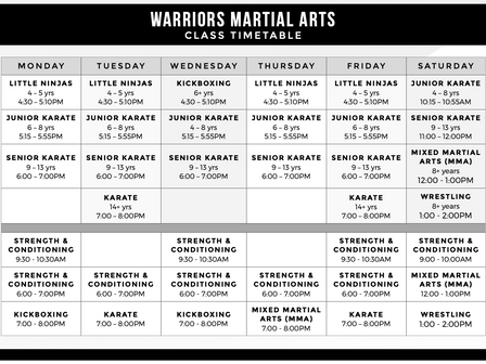 New Classes, New Timetable!