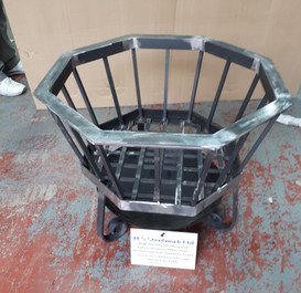 Hexagonal firepit with grill removed