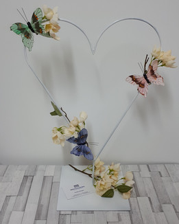 Heart table centrepiece with butterflies