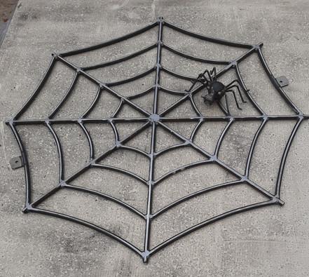 Giant metal spiderweb / cobweb and spider