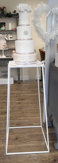 White solid steel cake table