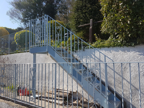 Decorative residential railings and garden staircase