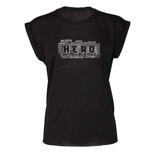 Hero WD Flowy Muscle Tee with Rolled Cuff