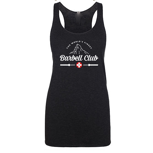 The finest barbell club Triblend Racerback Tank_white