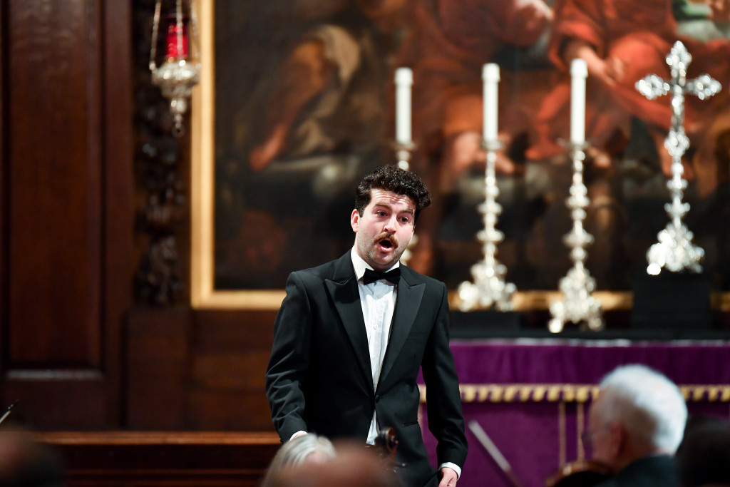 Tenor David de Winter performs in the final of the 2019 Handel Singing Competition at the London Handel Festival