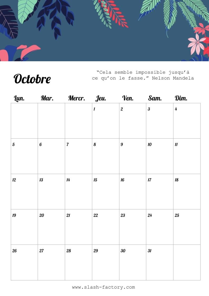 calendrier business octobre