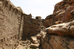 Mali Niongono village Typical small path trough Niongono. The round tower is a v