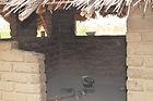malawi architecture, Rectangular kitchen constructed of burnt bricks Mariata village Malawi