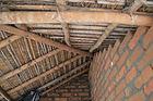 Underside of roof framing in the corner of the verandah.