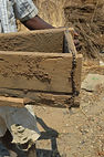 Wood form used for rammed earth construction in Nsulila village Malawi, malawi architecture