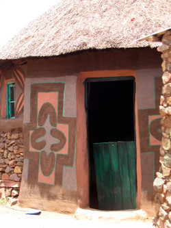 Lesotho -litema- design painted on a Basotho rondeval (submitted by Edith Dunn).
