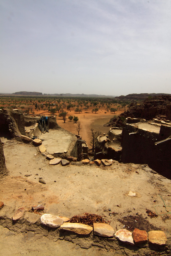 Mali Niongono village  Roof tops on which agricultural produces are dried (submi