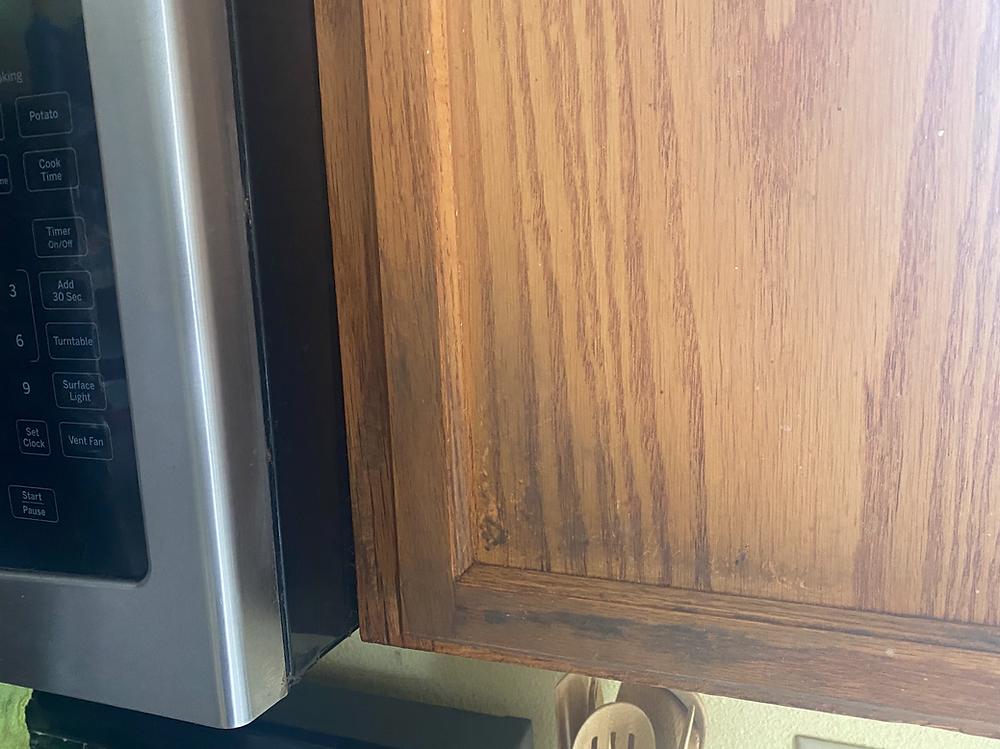 Greasy Cabinet door example before cleaning