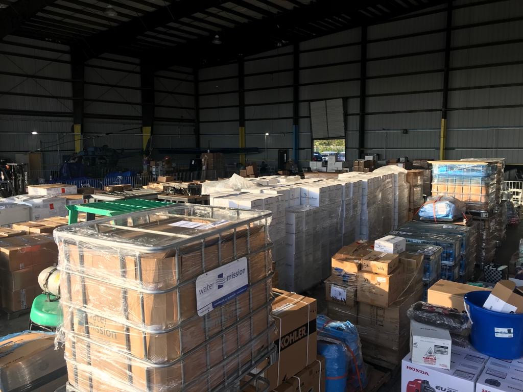 Full cargo hold of relief items at Odyssey Aviation