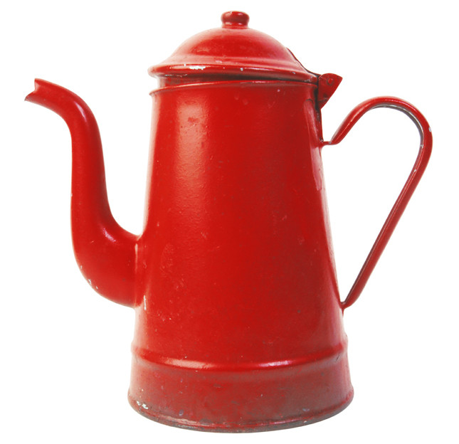 A bright red, old fashioned, tea or coffee pot.