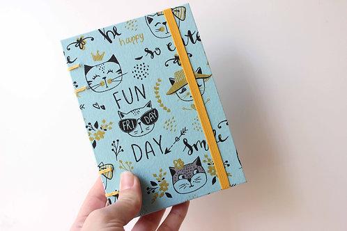 Caderno Pequeno Gatos Turquesa - Estúdio Akemi K
