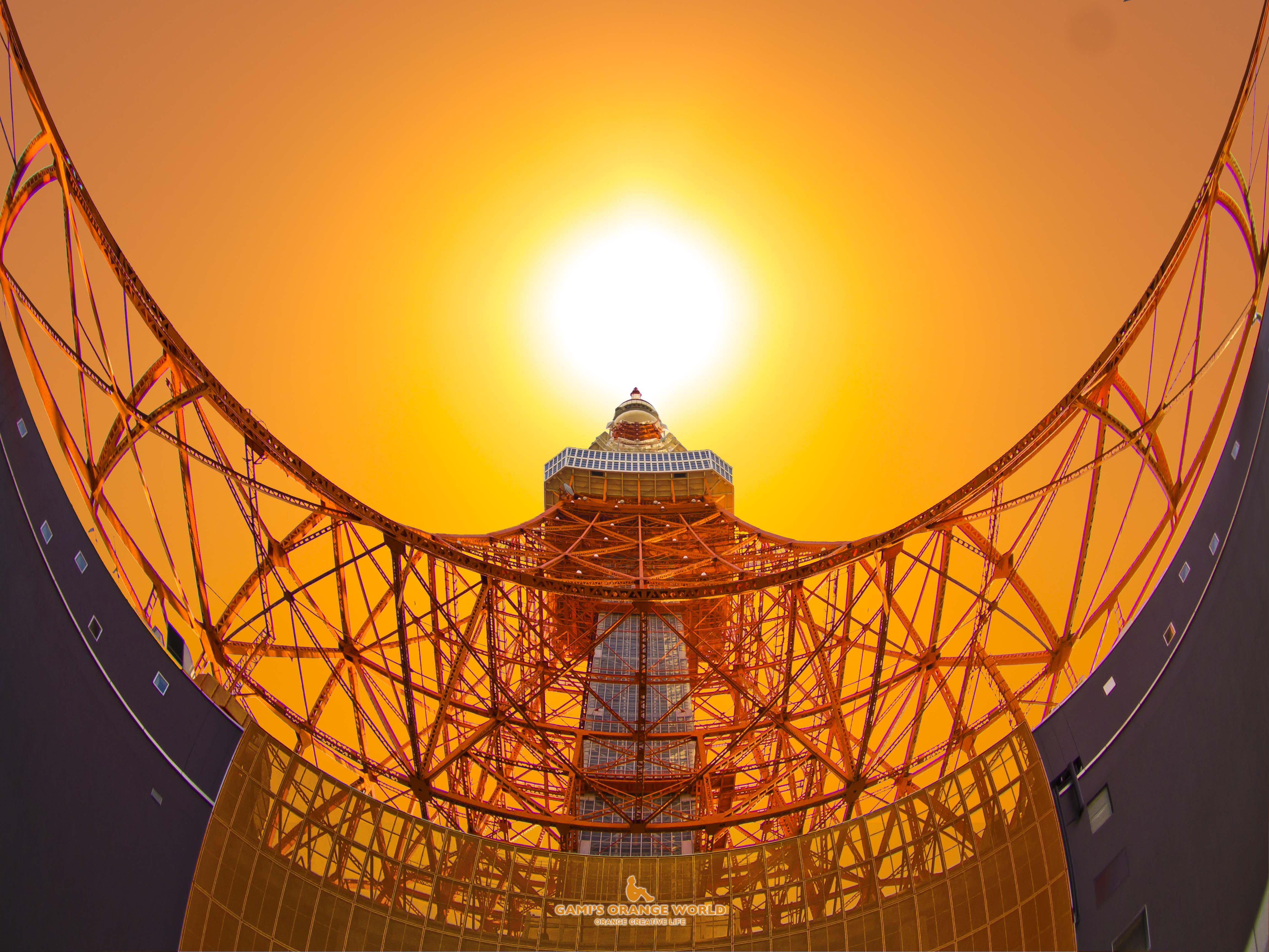 オレンジ夕陽と東京タワー(横)