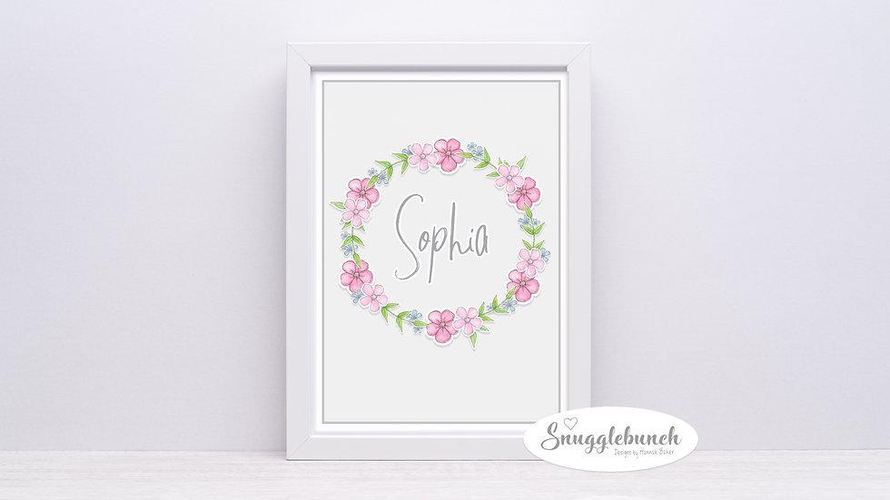 Floral Wall Art Name Print