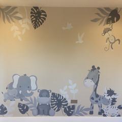Grey Jungle Children's Bedroom Mural