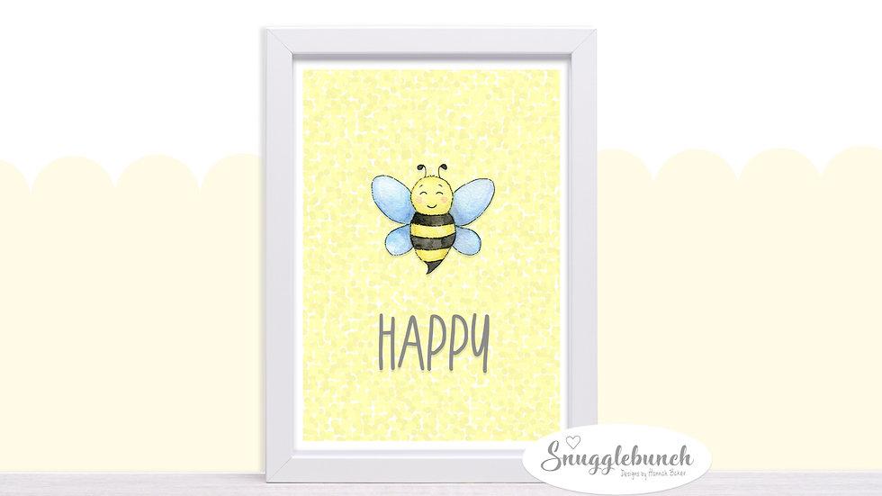 Happy Honey Bee Print