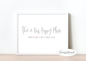 Happy Place Personalised Family Print
