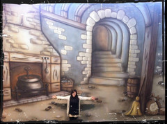 Hannah Baker in front of her painted theatre cloth