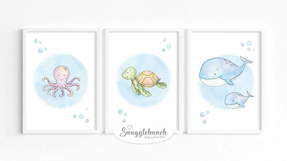 Set of 3 'Ocean Friends' Prints