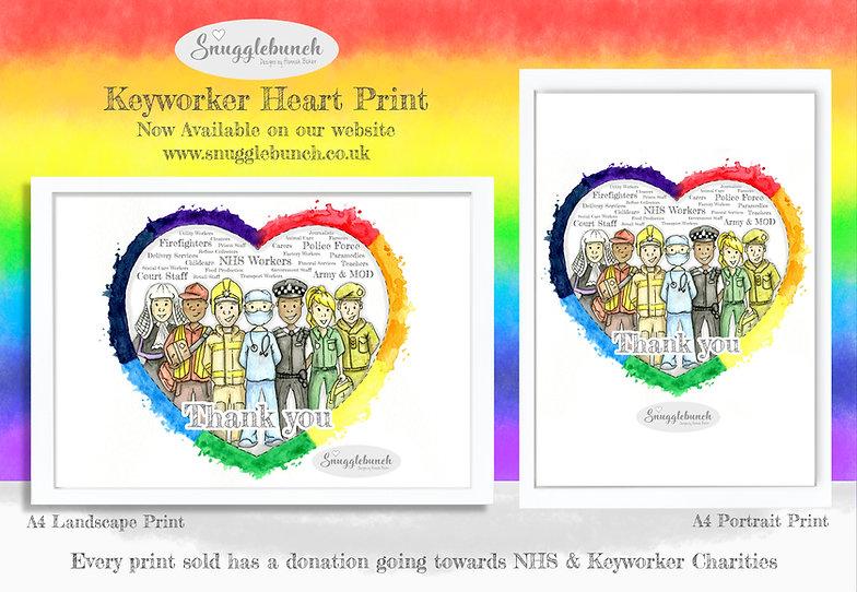 keyworker rainbow heart charity print