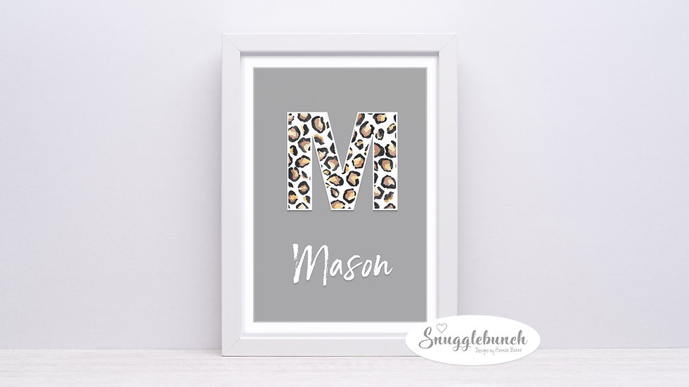 Grey & Leopard Name Print
