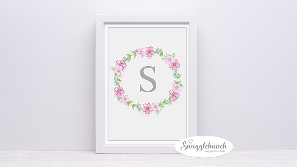Floral Wall Art Letter Print