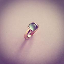 Rose Gold with Aquamarine Stone Ring