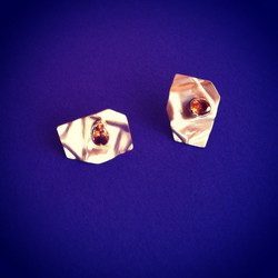 Gold Paper with Garnet Earrings