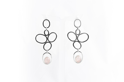 Pink Quartz Feather Earrings