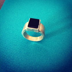 Horn & Silver Concrete Ring