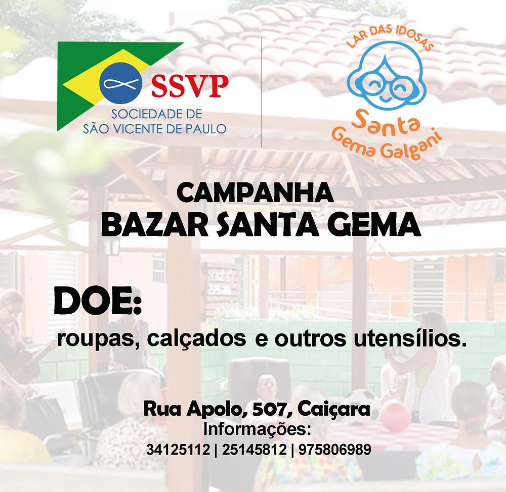 Ajude-nos  fazendo sua doação de roupas, acessórios, calçados e outros utensílios para fazermos o Bazar Beneficente para o Lar Santa Gema. Contamos com sua doação e ajuda na divulgação!