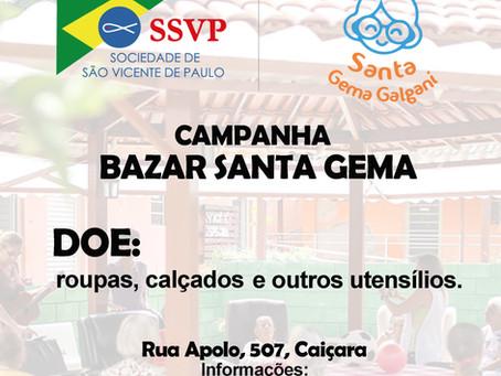 Campanha de arrecadação do Bazar Santa Gema