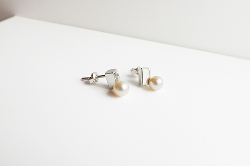 Cube and White Pearl Earrings