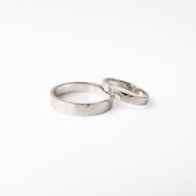 """Hammer Mark"" Gold Wedding Rings"