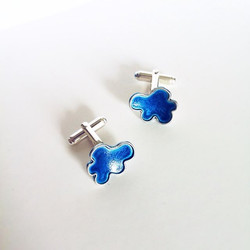 Silver Molecule in Blue Cufflinks #silvermolecule #mensjewelry #jewellery #jewelr