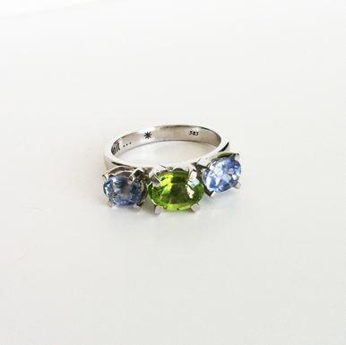 Aquamarine & Peridot Engagement Ring