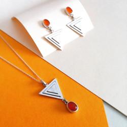 Carnelian & Silver Pyramid Set