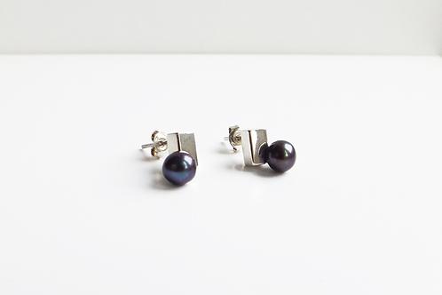 Cube and Black Pearl Earrings