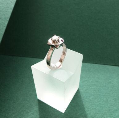 Diamond & Amethyst Engagement Ring