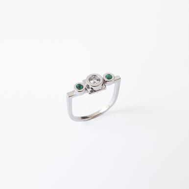 """Minimal One"" Diamond & Emerald Engagement Ring"